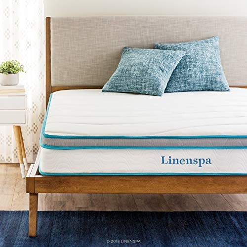 Linenspa 8 Inch Memory Foam and Innerspring Hybrid Mattress – Medium-Firm Feel – Twin