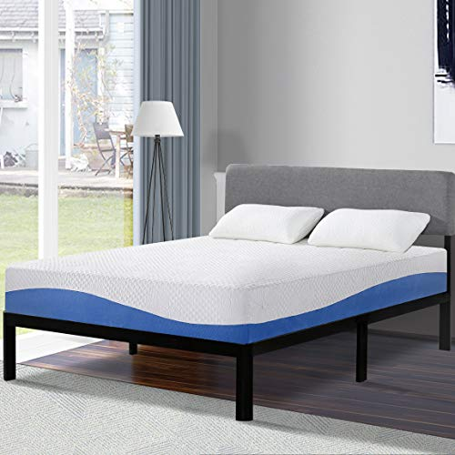 Olee Sleep 10 Inch Gel Infused Layer Top Memory Foam Mattress Blue, Queen